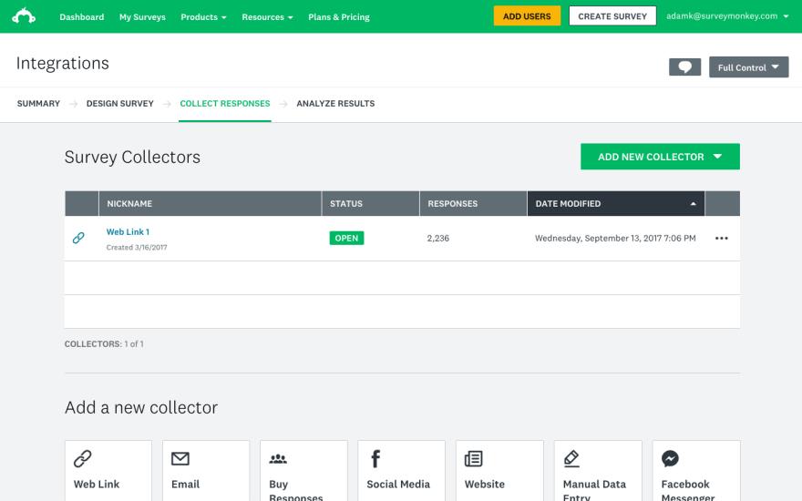 Screenshot of SurveyMonkey Application: An online form creation tool.