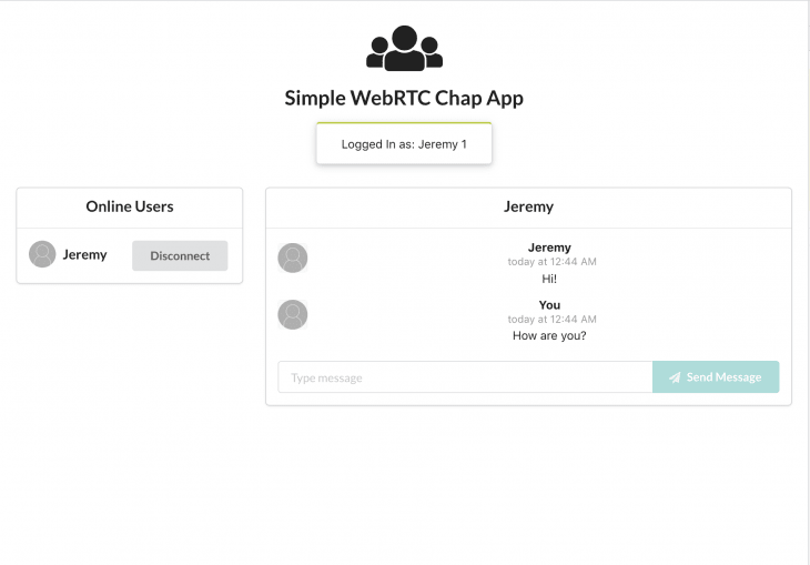 Using a simple WebRTC chat app while being connected to and chatting with another user