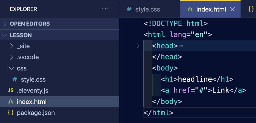 View of VSCode with an HTML file open and showing how the code editor font size appears about 2.5x larger than the window panel text, where the Folders panel is expanded