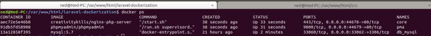 Docker ps screenshot