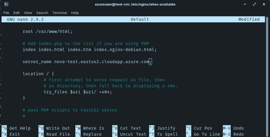 Azure VM Server Nginx Default