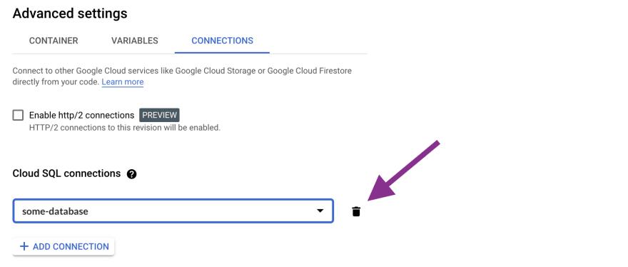 Delete a Cloud SQLconnection