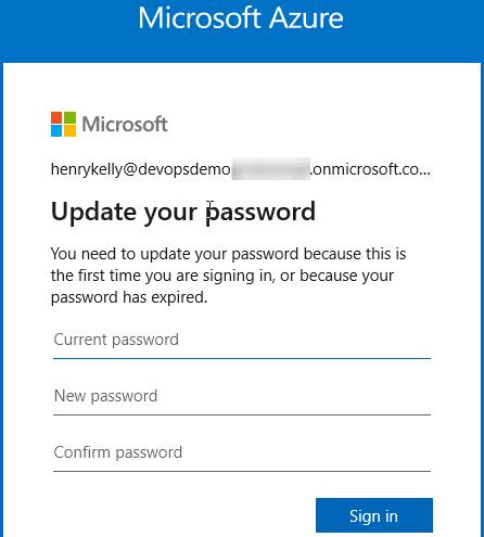 New user update password