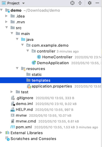 templates directory