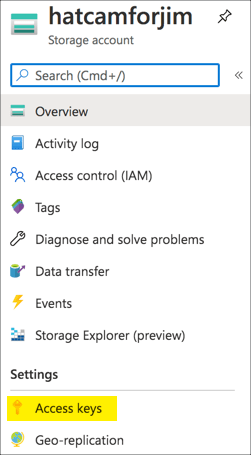 The access keys menu