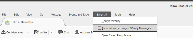 A screenshot of thunderbird with the 'Enigmail' dropdown menu open and the selection on the menu item 'Automatically Decrypt/Verify Messages'
