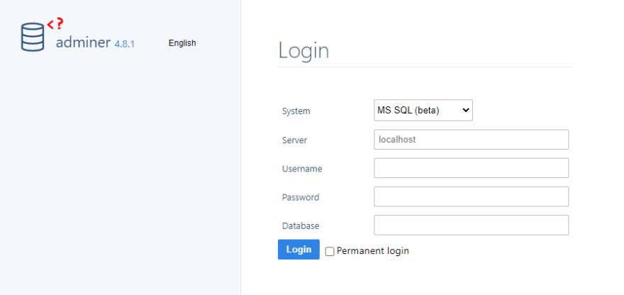 adminer login page