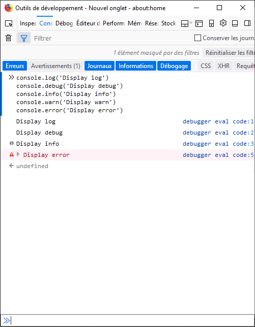 Alt Firefox : console example with log filter