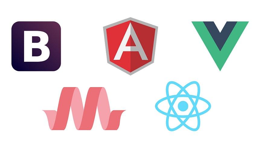 Frontend framework logos on white