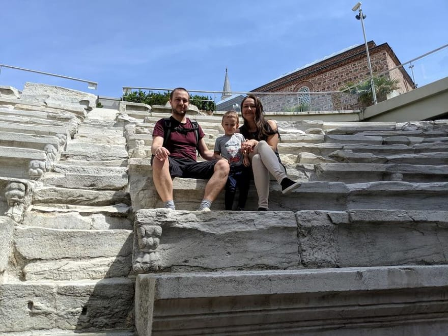 Georgi, Sofi and Anton in Plovdiv Bulgaria