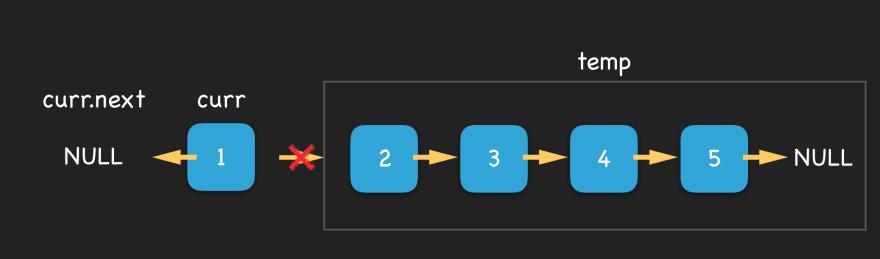 breaks link from node 1 to node 2