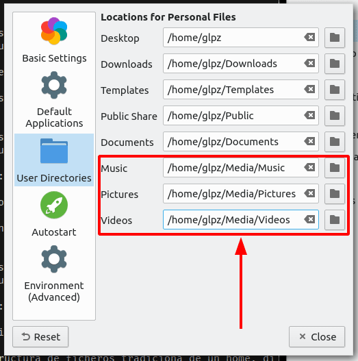 Settings for personal directories on LxQt