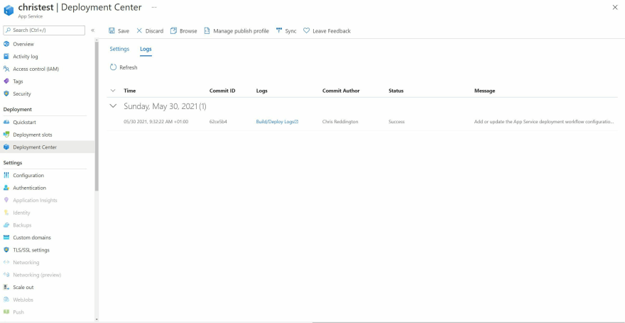 Screenshot showing the Deployment Center Logs Section for App Service on Kubernetes through Azure Portal