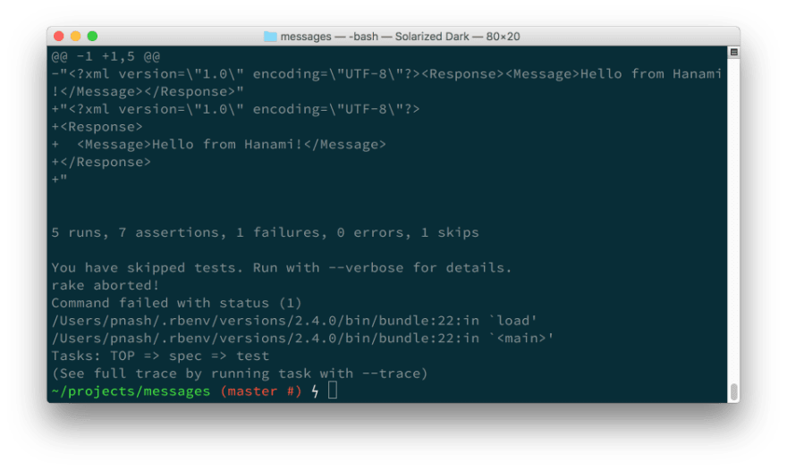More test results, this time: 5 runs, 7 assertions, 1 failure, 0 errors, 1 skip.
