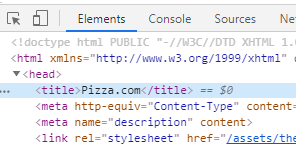 selecting title in developer tools with css and cheeriojs