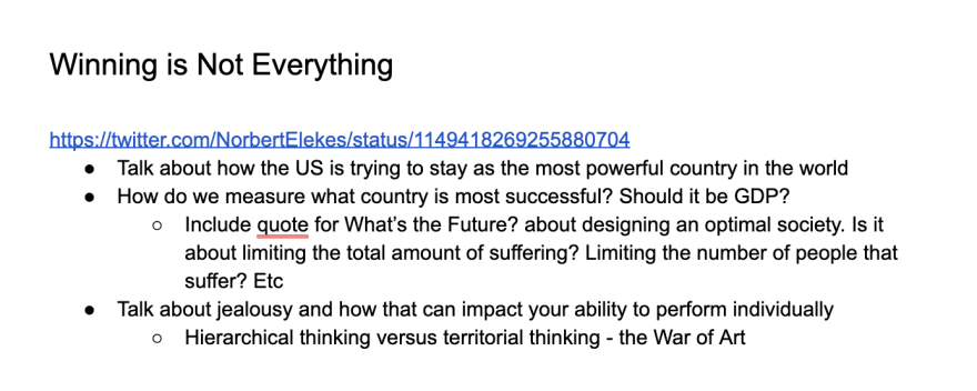"""Basic outline for a future article about the mentality around """"winning""""."""