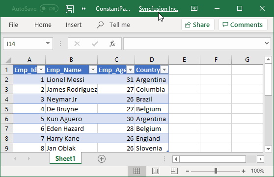 Excel file generated with CONSTANT parameter query