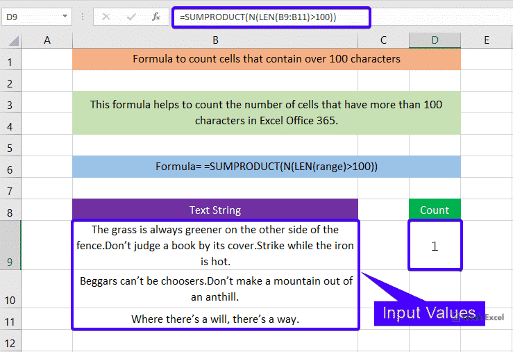 Formulas to count cells that contain more than 100 character