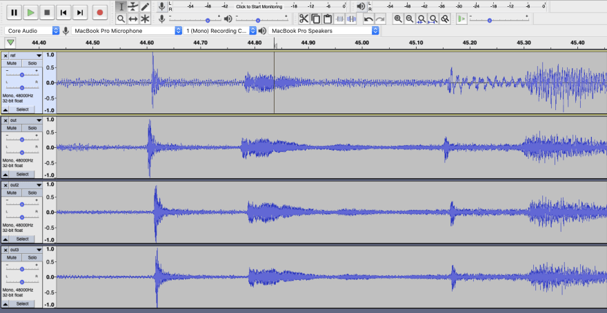 Screenshot of Audacity and aligned tracks
