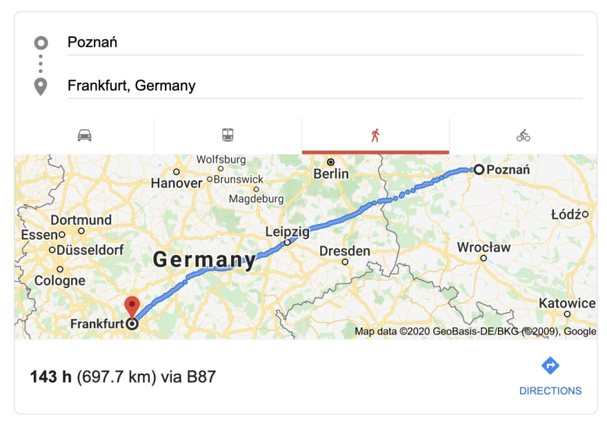 Google Maps showing the distance between Poznan, Poland and Frankfurt