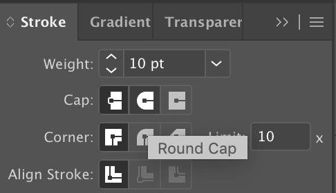 Select Round Cap in Illustrator