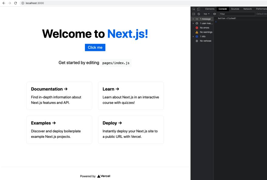Print da tela do navegador mostrando o botão adicionado na aplicação