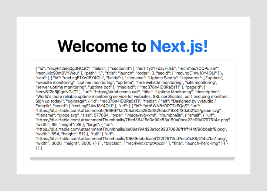 Next.js Welcome with Data