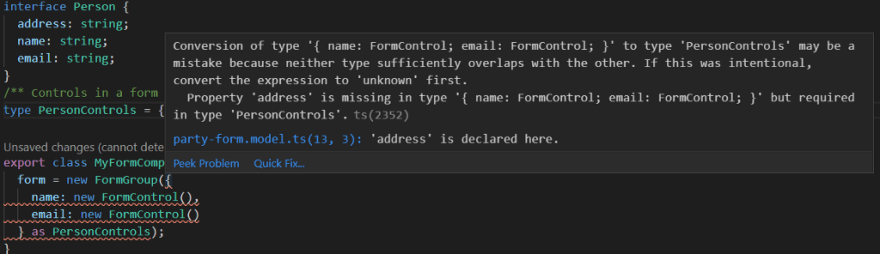 "Screenshot describing an error of type: "" Property 'address' is missing in type '{ name: FormControl; email: FormControl; }'"
