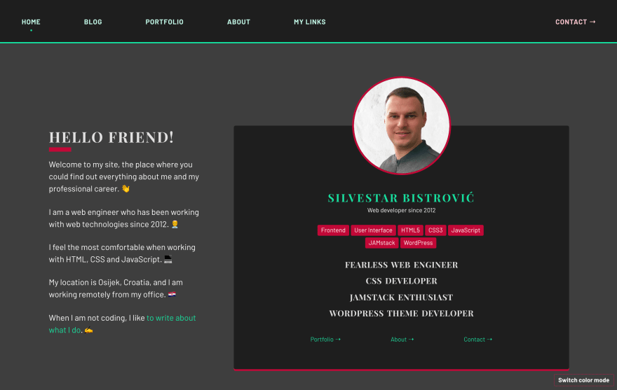 Screenshot of the redesigned site - the dark mode.