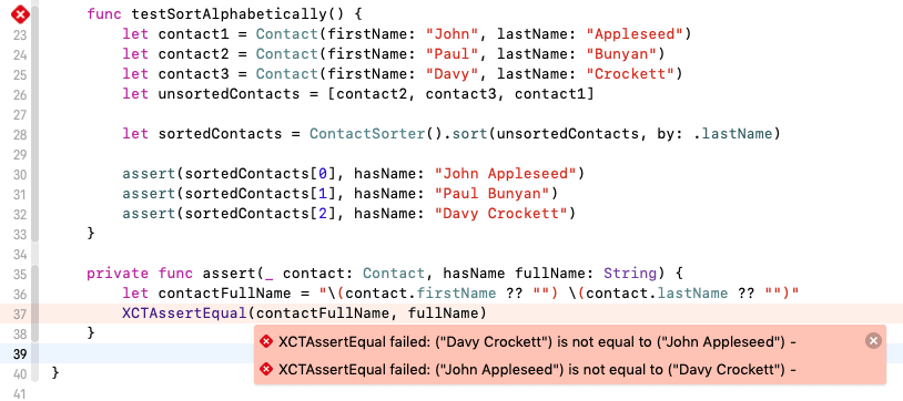 """XCTAssertEqual failed: (""""Davy Crockett"""") is not equal to (""""John Appleseed"""")"""