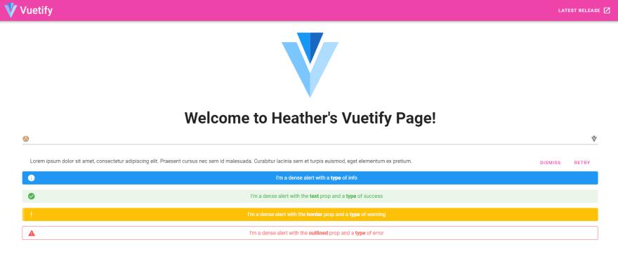 SS-Heathers Vuetify page w cust