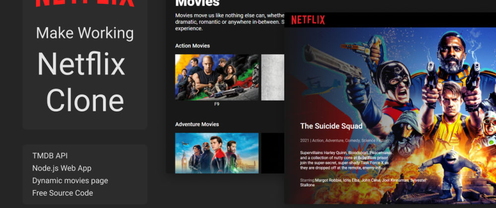 Cover image for Node App: How to create netflix clone. Netflix clone with HTML,CSS, JS.