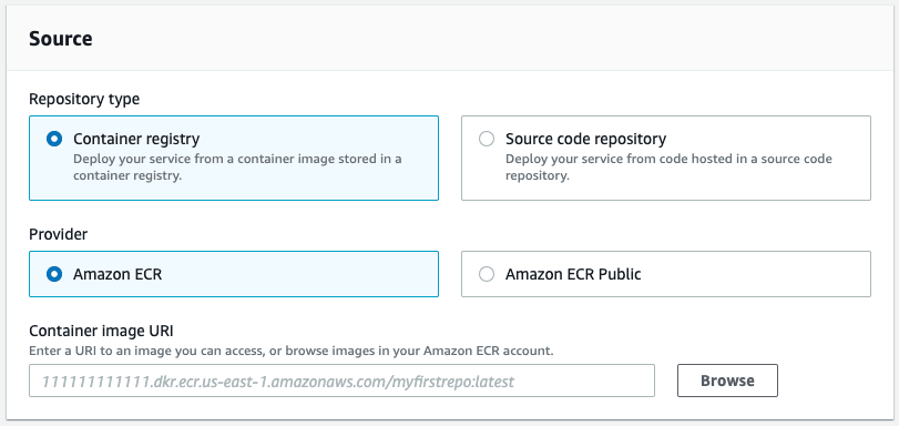 AWS App Runner console - source section