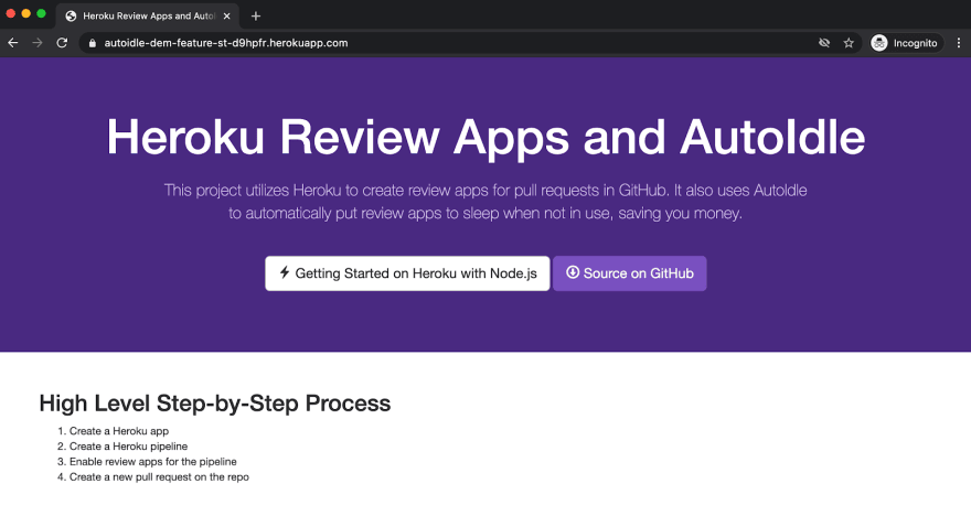 Heroku review app showing changes from our open pull request