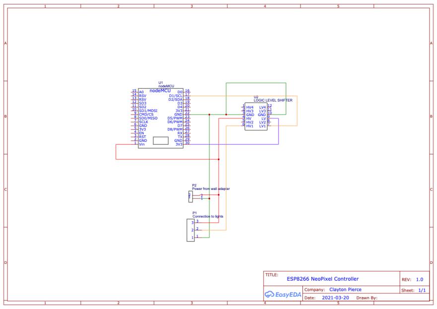 Circuit Schematic for ESP8266 lighting controller