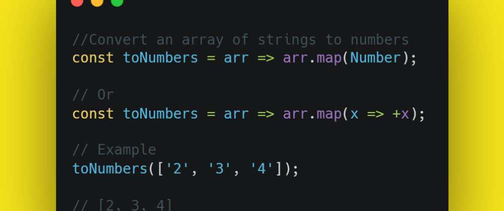 Cover image for Convert an array of strings to numbers
