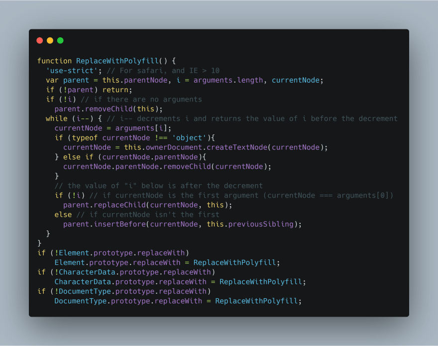Polyfill Syntax for ChildNode.replaceWith()