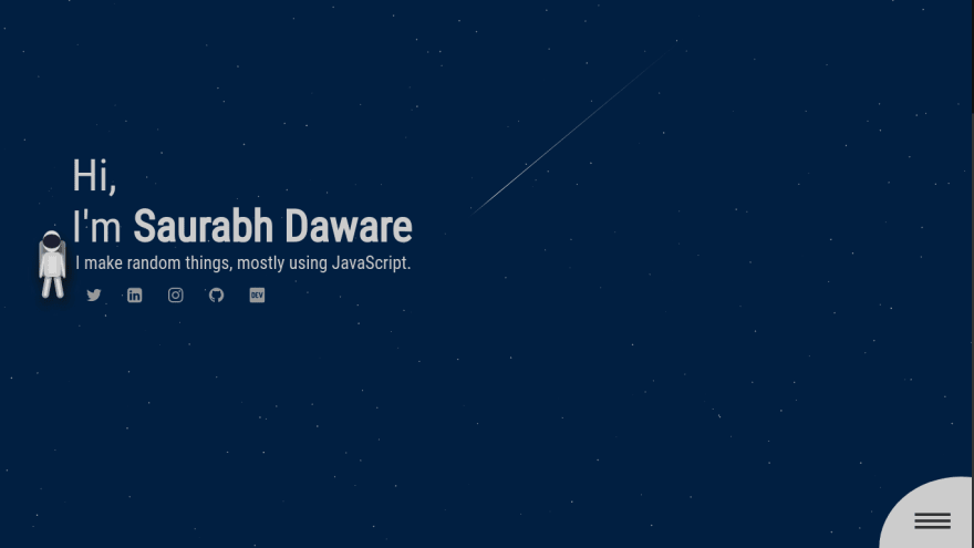 Screenshot of upcoming https://saurabhdaware.in landing page