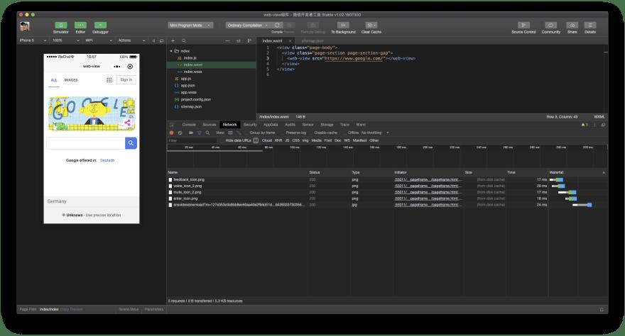 WeChat `<web-view>` component sample running in WeChat DevTools