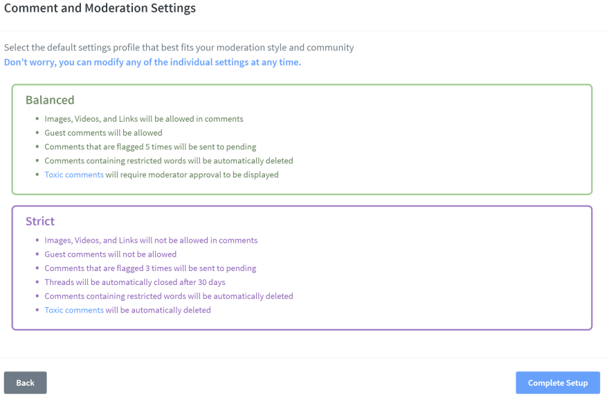 Site moderation options