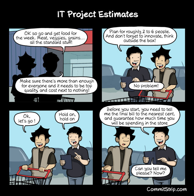 CommitStrip: IT Project Estimates