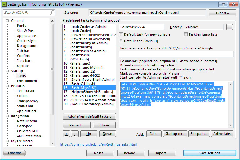 Change task options