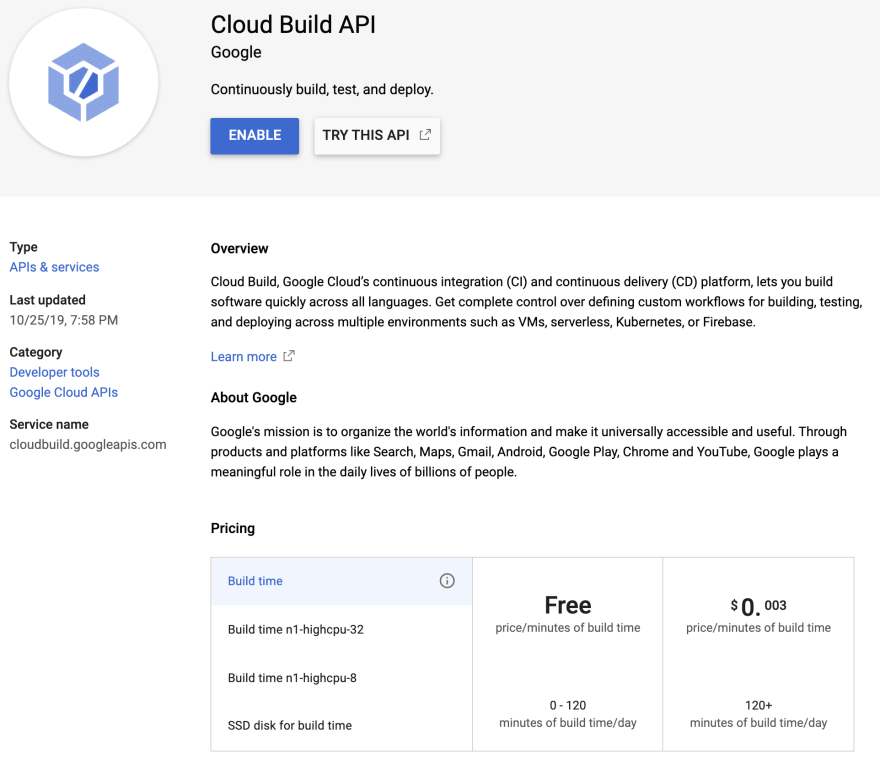 Cloud Build API Enable