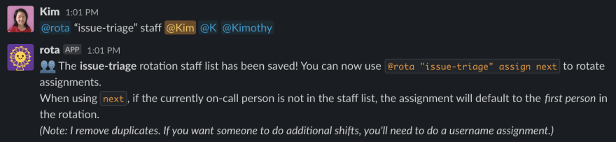 add a staff list to an existing rotation