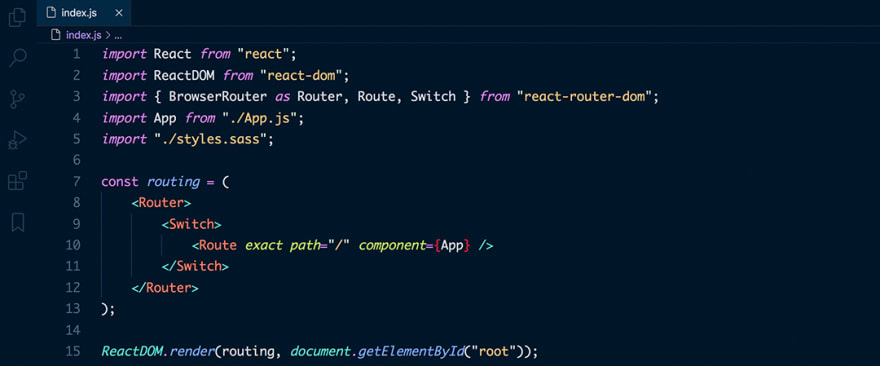 React code snippet with the Night Owl theme