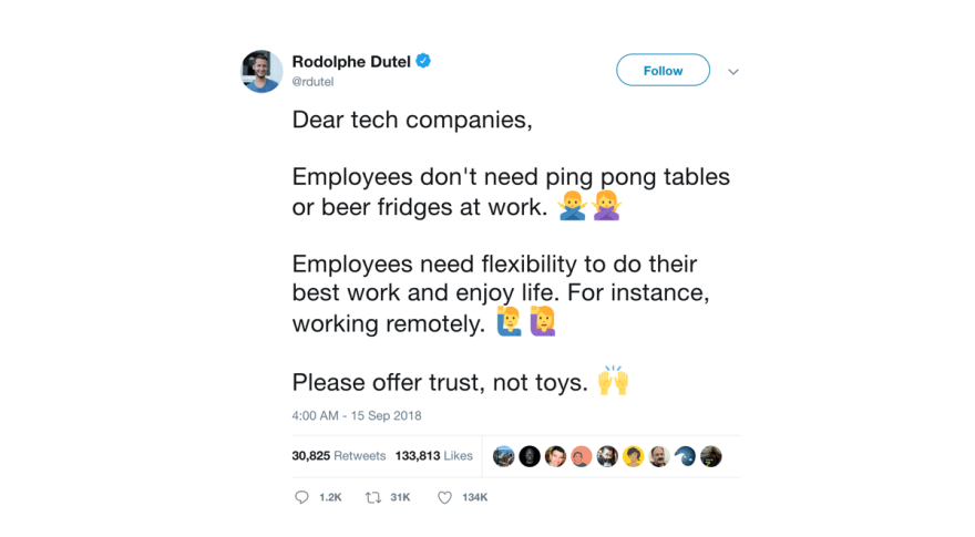 Employees want flexibility, not ping-pong tables