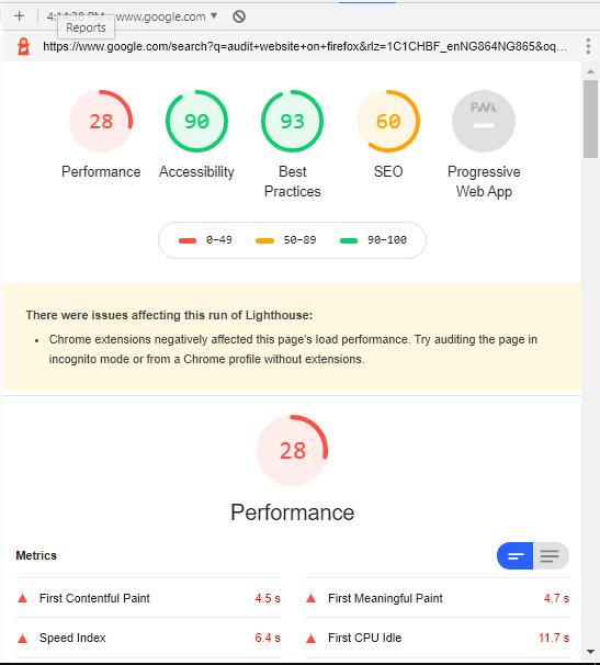 Result from Audit on Google Chrome