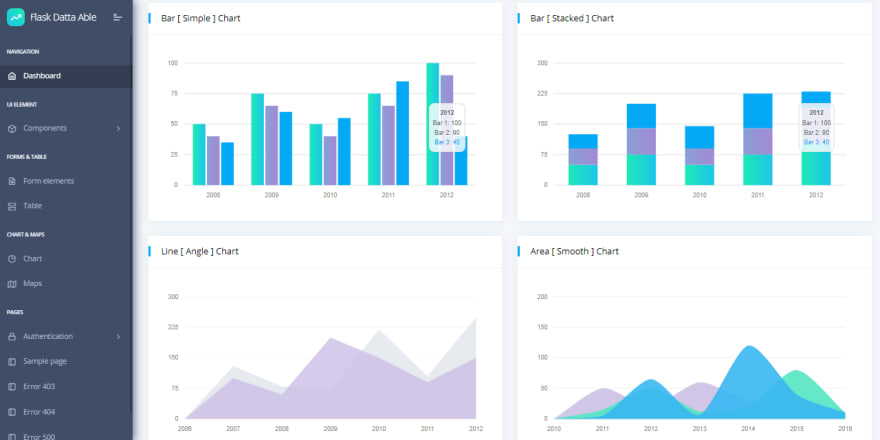 Flask Dashboard DattaAble - Starter project coded in Flask.