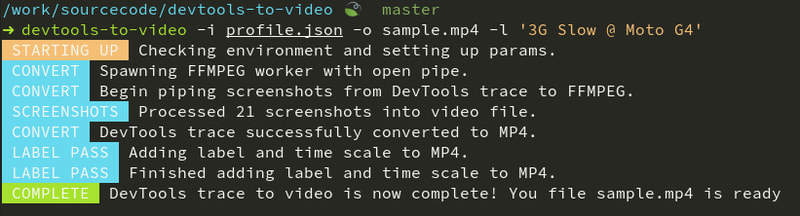 devtools-to-video cli in action