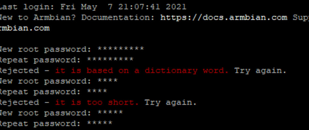 """Cover image for Overriding Armbian's """"it is based on a dictionary word"""" during setup"""